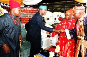 L - R: President Ohanaeze Ndigbo South West Zone, Prince Nathaniel Uzomah; Ekiti State