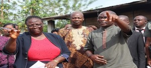 :   Principal of St. Louis Grammar School, Ikere, Mrs. Rhoda Ojo (left) and Ekiti State Deputy Governor, Dr. Kolapo Olusola during the visit of the deputy to the school