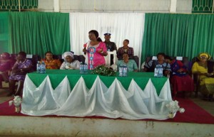 First lady of Ekiti State, Mrs Feyisetan Fayose giving her address at the presentation