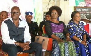 Gov., Fayose (Left), his wife Mrs Feyisetan Fayose (Middle) SSG, Dr Mrs Alade and Commissioner for Education, Hon Jide Egunjobi while playing host to Ekiti women at the Government House, Ado-Ekiti on Wednesday.
