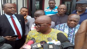 Governor Ayodele Fayose, granting audience to press men at the premiss of Ado Ekiti Branch of Zenith Bank on Thursday.